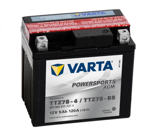Varta Powersports AGM 12V 5Ah jobb+ - YTZ7S-4 / YTZ7S-BS motor motorkerékpár akkumulátor akku 507902011