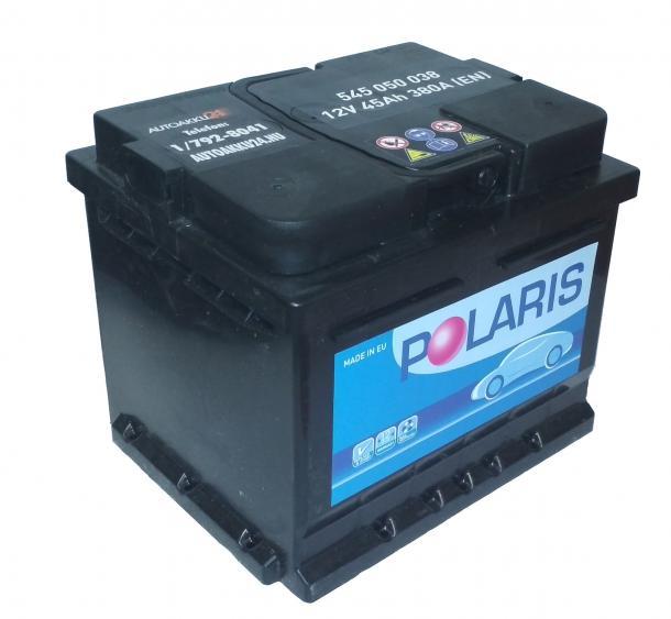 POLARIS 12V 45Ah 380A Jobb+ alacsony gondozásmentes autó akkumulátor akku
