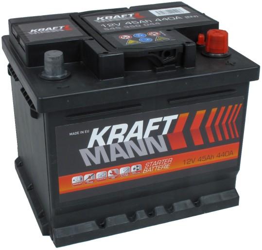Kraftmann 12V 45Ah jobb+ autó akkumulátor akku