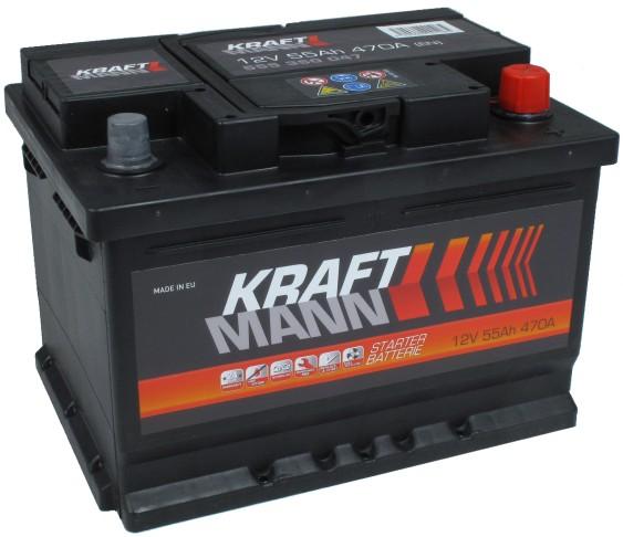 Kraftmann 12V 55Ah jobb+ autó akkumulátor akku