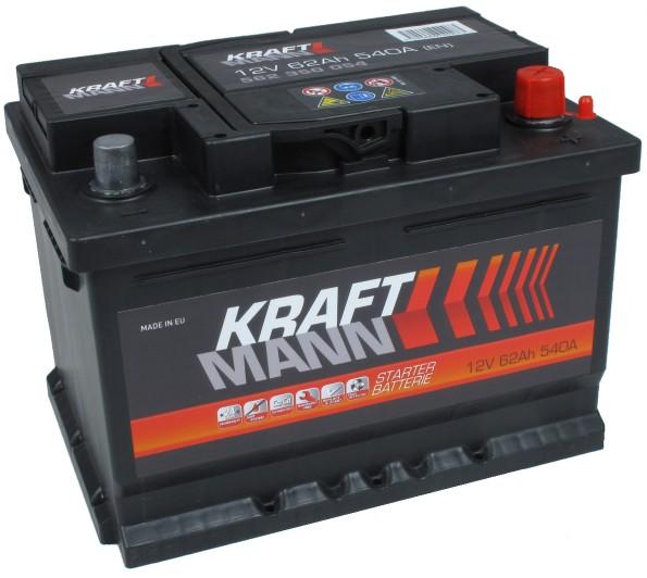Kraftmann 12V 62Ah jobb+ autó akkumulátor akku