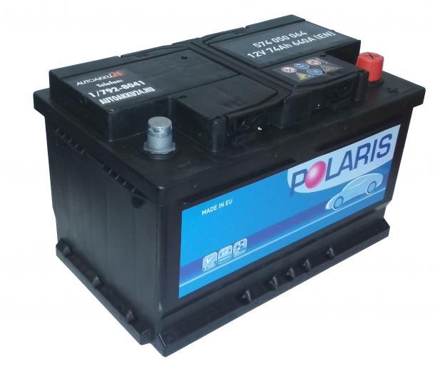 POLARIS 12V 74Ah 640A Jobb+ alacsony gondozásmentes autó akkumulátor akku