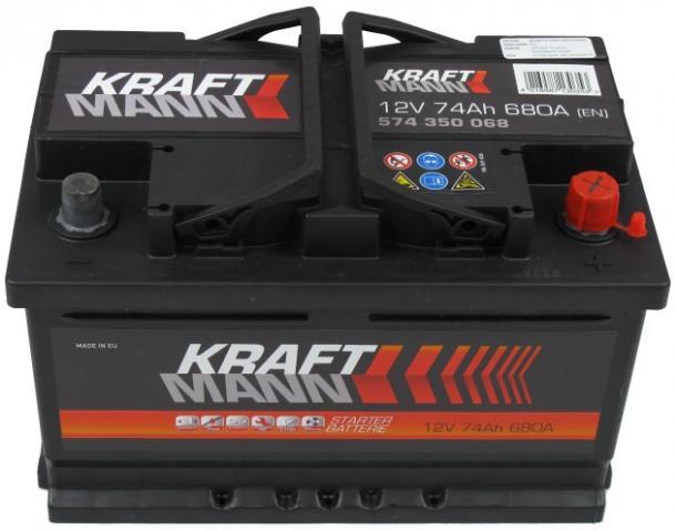 Kraftmann 12V 74Ah jobb+ autó akkumulátor akku