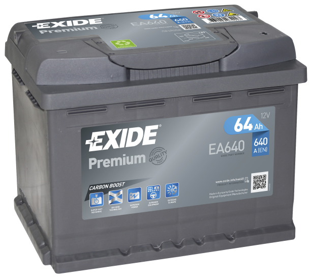 EXIDE Premium 12V 64Ah 640A jobb+ autó akkumulátor akku