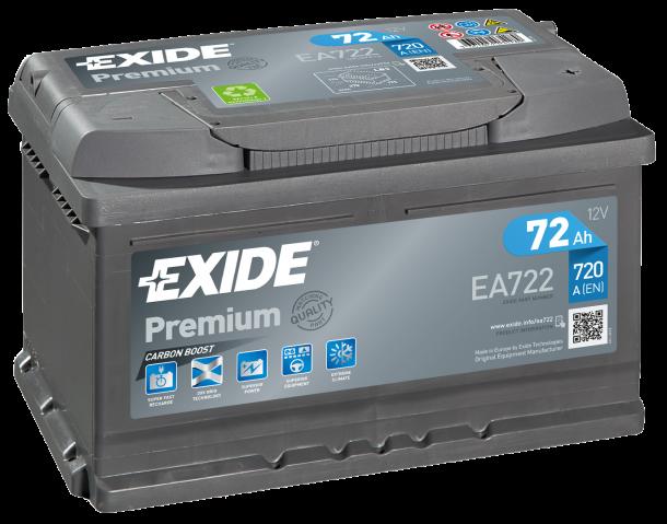 EXIDE Premium 12V 72Ah 720A jobb+ autó akkumulátor akku