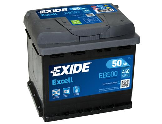 EXIDE Excell 12V 50Ah 450A jobb+ autó akkumulátor akku