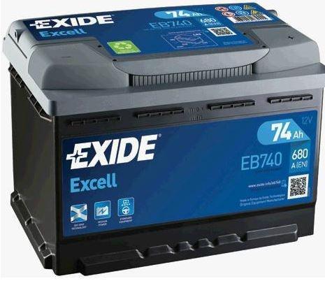 EXIDE Excell 12V 74Ah 680A jobb+ autó akkumulátor akku